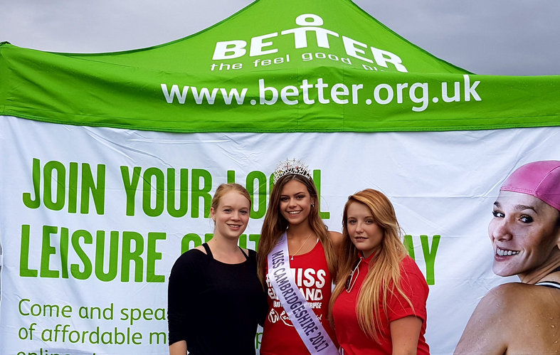 Miss Cambridgeshire 2017 (Amy Johnson) with the BETTER Cambridge team