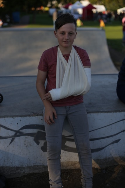 Broken elbow on the skate ramp - good job it was Festival Day and St John's were on site!!