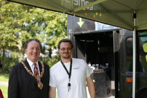 The Mayor of Cambridge with Gary Kirby from the Gamers Bus