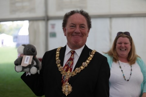 The Mayor of Cambridge wins on the teddy tombola
